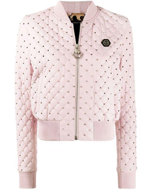 Philipp Plein スタッズ ボンバージャケット Pink