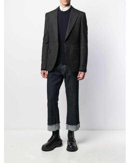 Blazer en tweed à carreaux Alexander McQueen pour homme en coloris Gray