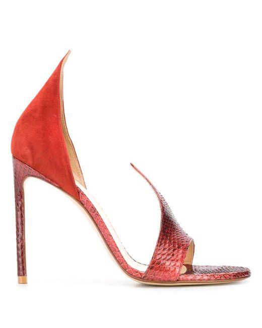 Босоножки С Тиснением Под Змеиную Кожу Francesco Russo, цвет: Red