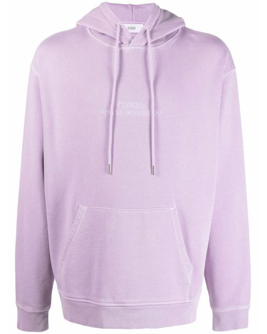 Closed Purple Embroidered Logo Organic Cotton Hoodie for men