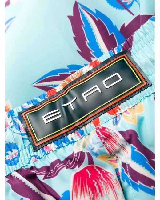 メンズ Etro フローラル トランクス水着 Blue