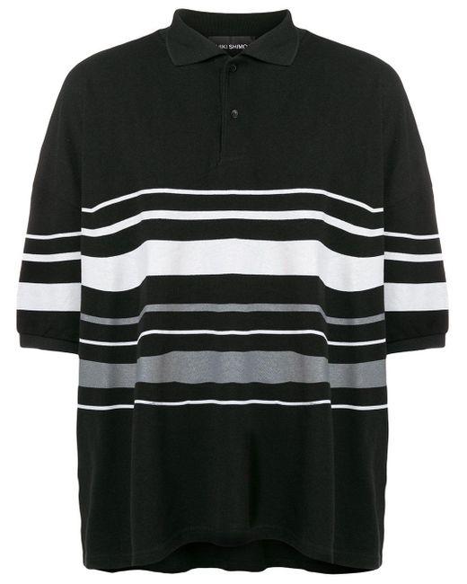 Yuiki Shimoji ボーダー ポロシャツ Black