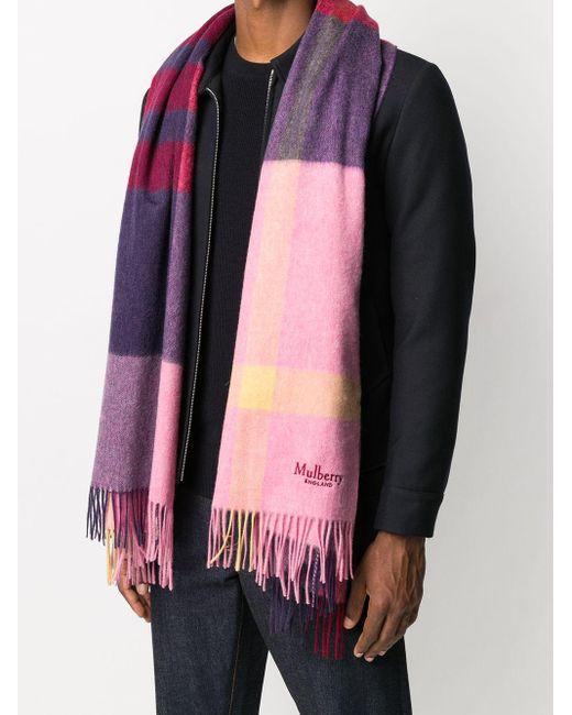 メンズ Mulberry チェック スカーフ Pink
