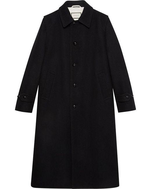 a12e4e6a5dd2 Gucci - Black Wool Coat for Men - Lyst ...