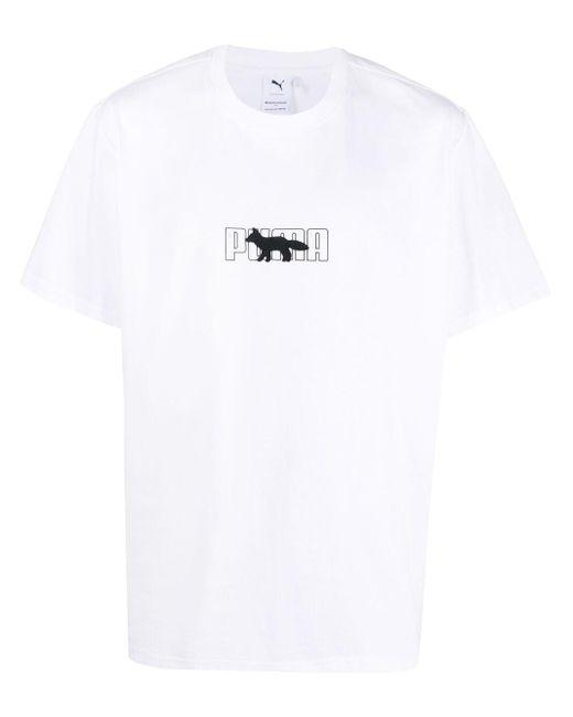 PUMA White X Maison Kitsuné Logo T-shirt for men