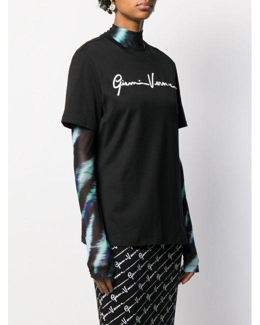 T-shirt con ricamo di Versace in Black