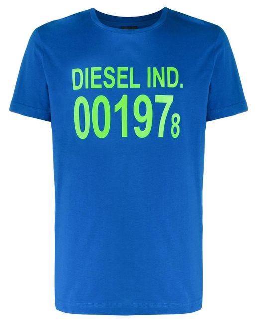 メンズ DIESEL 001978 ロゴ Tシャツ Blue