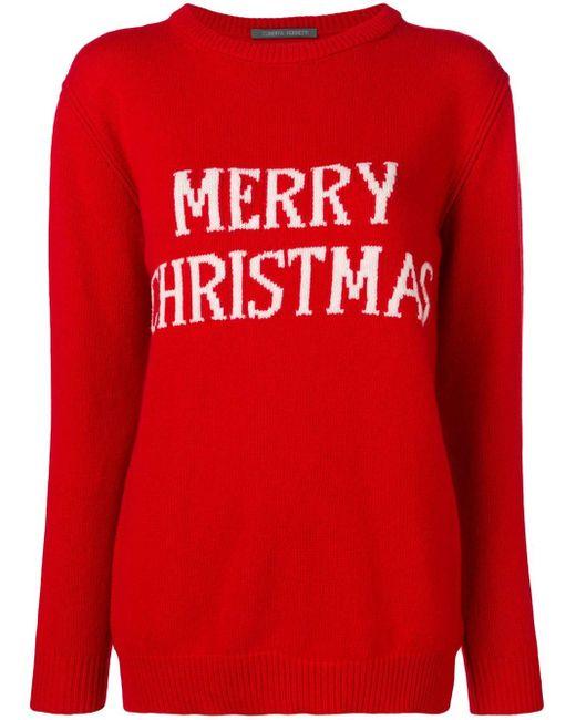 Alberta Ferretti Merry Christmas セーター Red