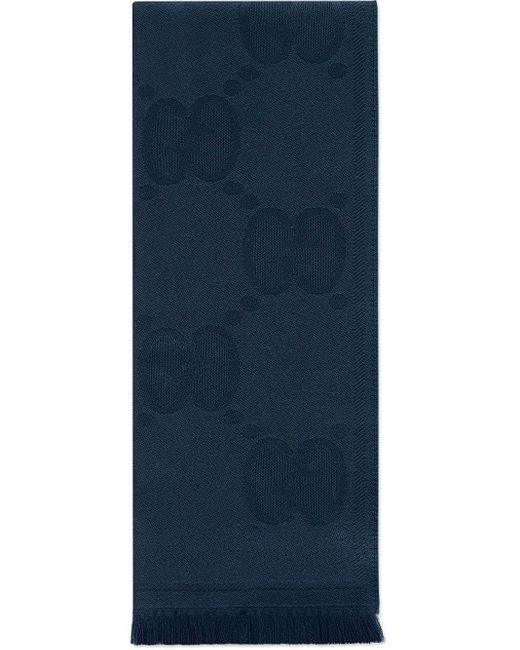 メンズ Gucci グッチGGパターン ウール スカーフ Blue