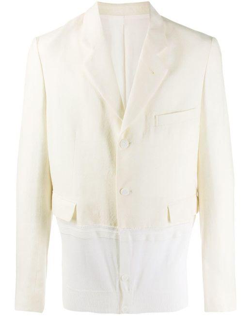 Haider Ackermann White Contrast-panel Blazer for men