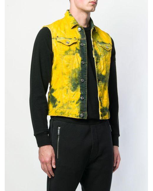 688b2f703f4d4e ... DSquared² - Yellow Sleeveless Denim Jacket for Men - Lyst ...