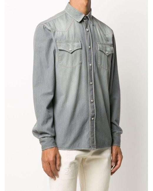 Рубашка Из Вареного Денима Brunello Cucinelli для него, цвет: Gray