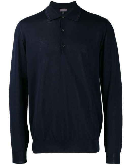 メンズ Lanvin ファインニット ポロシャツ Blue