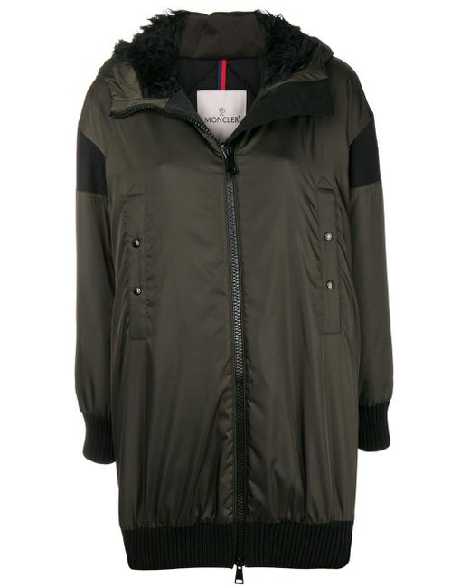 Moncler Green Front Zipped Coat