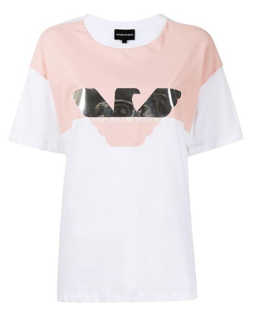 Emporio Armani カラーブロック ロゴ Tシャツ White