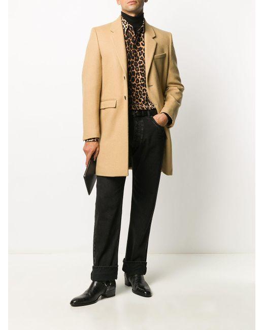 メンズ Saint Laurent ブラウン シルク レオパード シャツ Brown