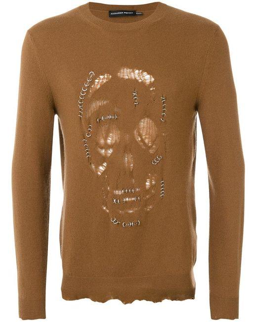 Alexander McQueen | Brown Pierced Skull Jumper for Men | Lyst