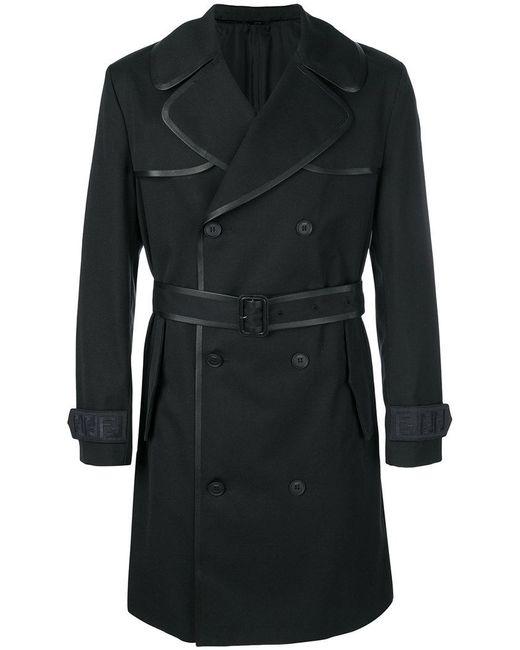 Fendi - Blue Contrast-trim Belted Trench Coat for Men - Lyst
