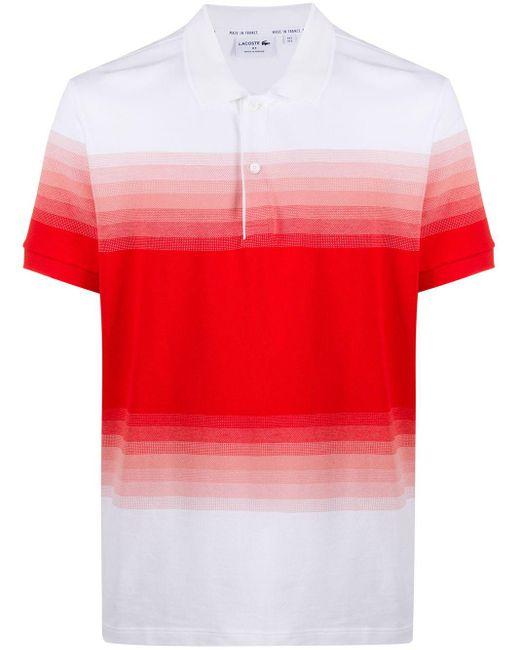 メンズ Lacoste ストライプ ポロシャツ White