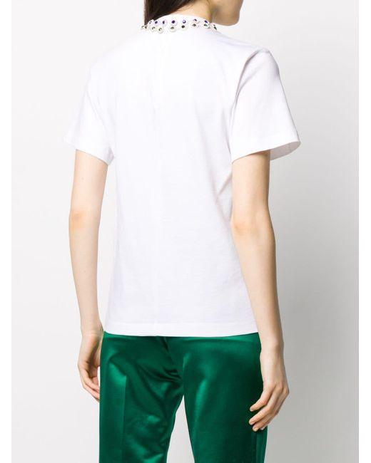 Christopher Kane フローラル ビジュー Tシャツ White