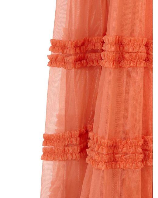 Fendi ラッフル ロングドレス Orange