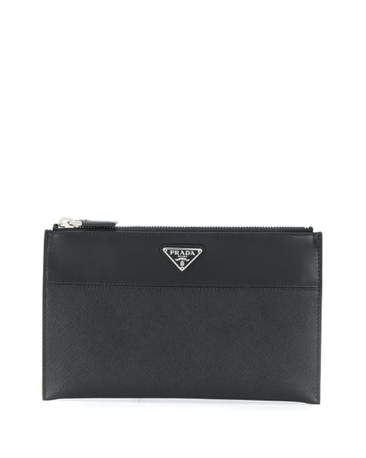 Prada Beutel mit dreieckigem Logo-Schild in Black für Herren