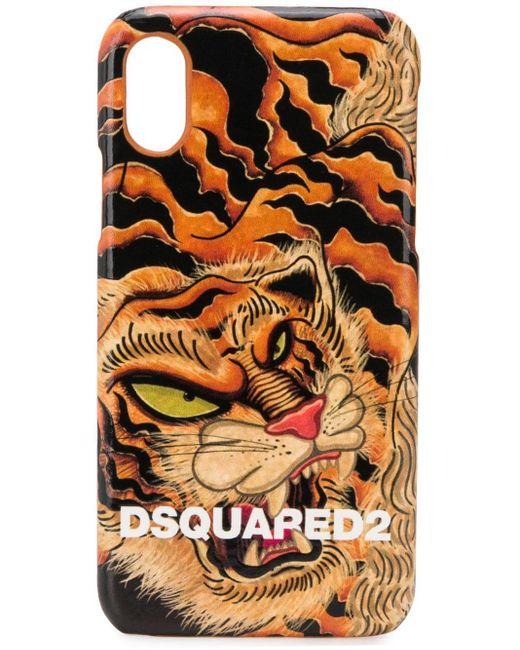 メンズ DSquared² タイガー Iphone X ケース Orange