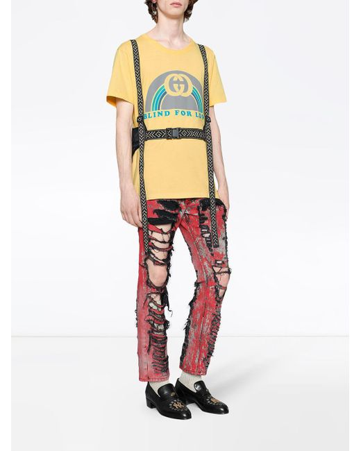 12150568f ... Gucci - Yellow Oversize T-shirt With Rainbow Print for Men - Lyst