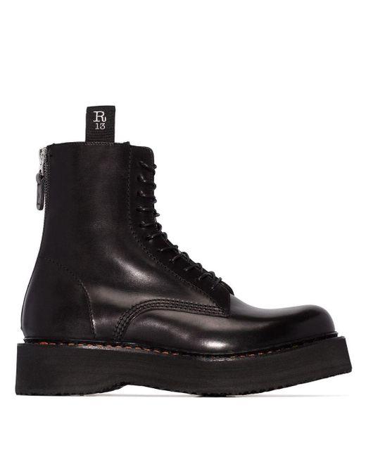 Ботинки На Шнуровке 'single Stack' R13, цвет: Black