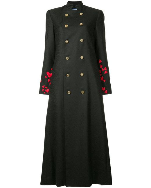 Macgraw - Black Heart Embroidered Double-breasted Coat - Lyst