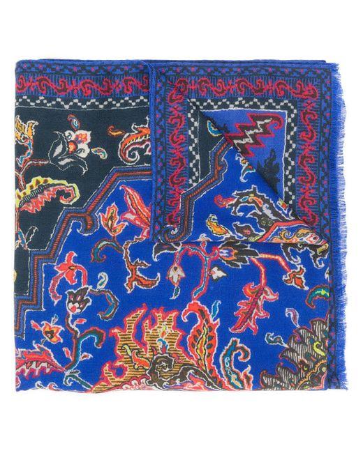 Etro ペイズリープリント スカーフ Blue