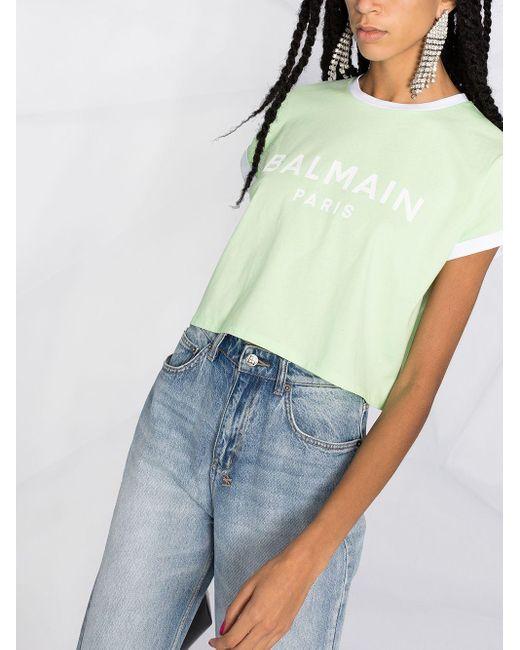 Balmain ロゴ クロップド Tシャツ Green
