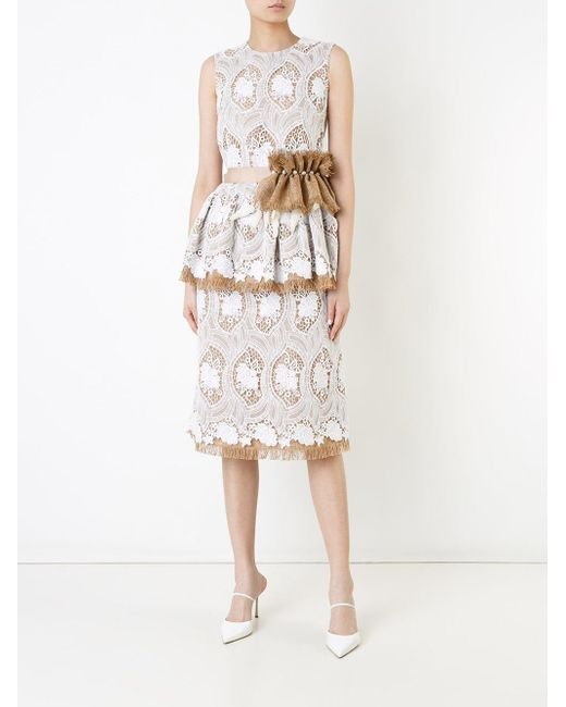 Lyst huishan zhang embroidered dress in brown