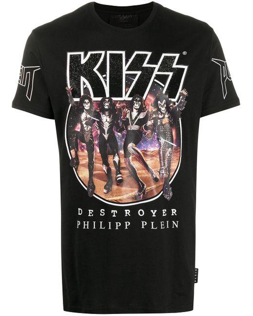 メンズ Philipp Plein プリント Tシャツ Black