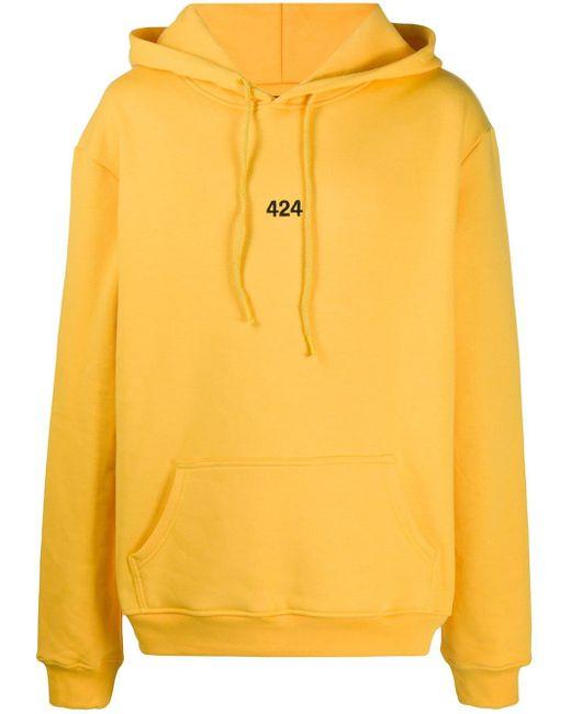 メンズ 424 ロゴ パーカー Yellow