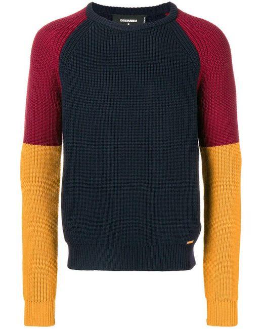 メンズ DSquared² カラーブロック セーター Blue