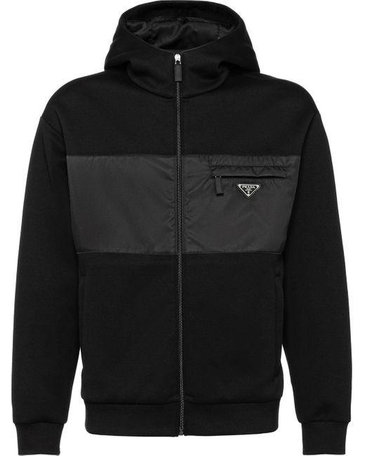 Prada Technisch Fleece Jack Van Katoen in het Black voor heren