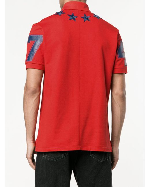 Givenchy star applique polo shirt in red for men lyst for Givenchy 5 star shirt