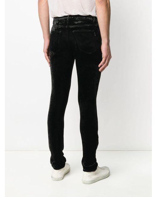 メンズ Saint Laurent ベルベット スキニーパンツ Black