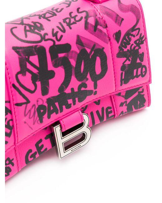 Balenciaga アワーグラス グラフィティ バッグ Xs Pink