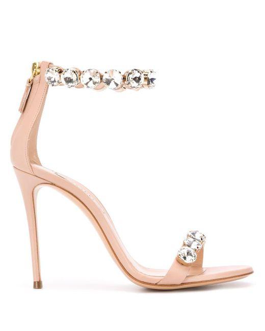 Casadei 80mm Stone-embellished Sandals Pink