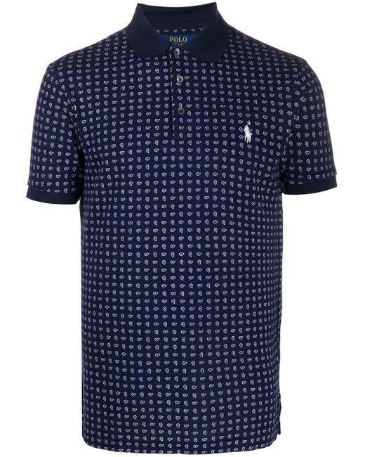 メンズ Polo Ralph Lauren ペイズリー ポロシャツ Blue