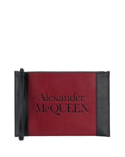 Клатч С Тисненым Логотипом Signature Alexander McQueen, цвет: Red