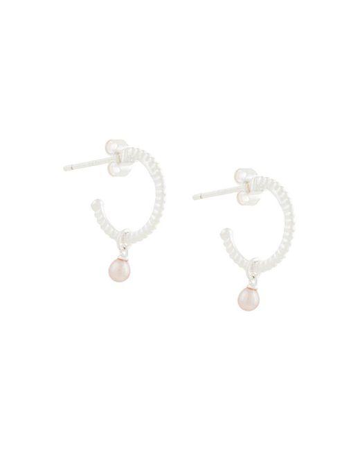 Karen Walker Metallic Wisdom Pearl Hoop Earrings