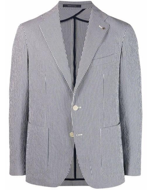 メンズ Tagliatore ストライプ シングルジャケット White