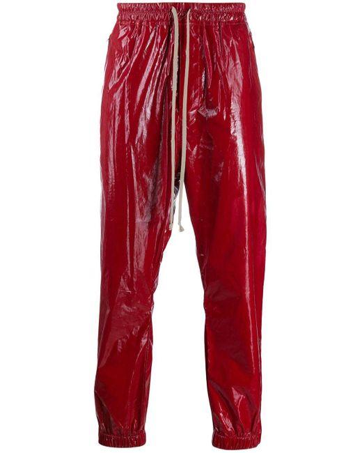 メンズ Rick Owens トラックパンツ Red