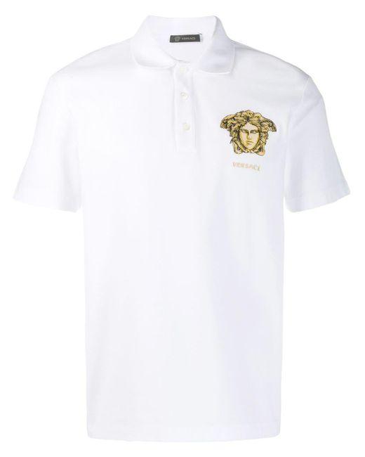 メンズ Versace メデューサ ポロシャツ White