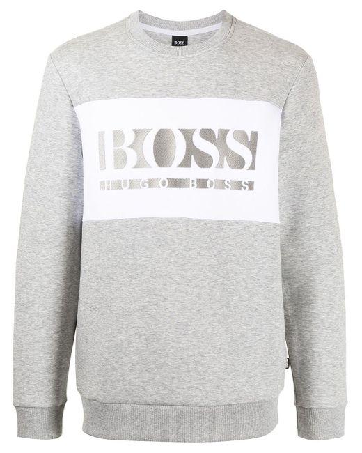 メンズ BOSS by Hugo Boss ロゴ スウェットシャツ Gray