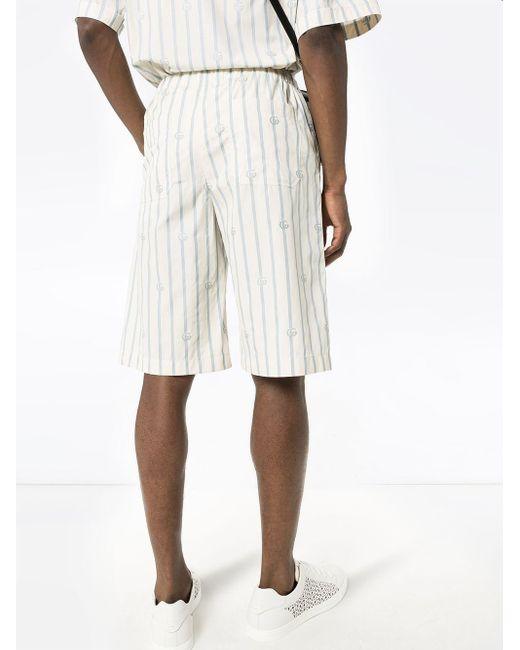 メンズ Gucci ダブルg ストライプ ショートパンツ White