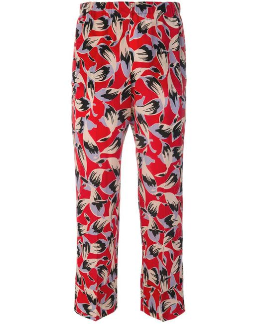 Pantaloni crop con stampa di N°21 in Red